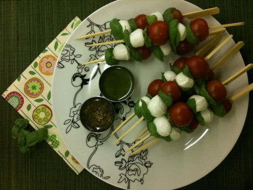 Mozzarella, Cherry Tomato and Basil Skewers Recipe