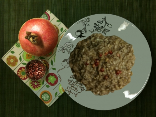 Pomegranate and Cream of Leek Risotto Recipe