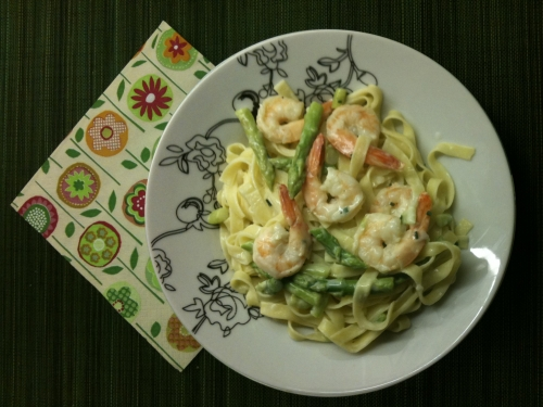 Shrimp and Asparagus Tagliatelle Recipe
