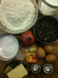 Ingredients for Chocolate Chip and Pomegranate Muffins
