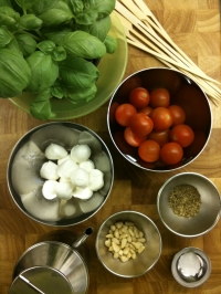 Ingredients for Mozzarella, Cherry Tomato and Basil Skewers