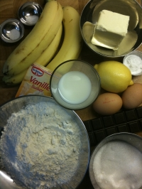 Ingredients for Banana and Chocolate Chip Muffins