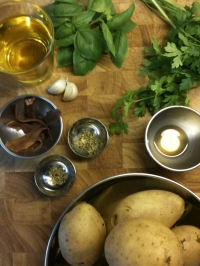 Ingredients for Potato and Anchovy Salad