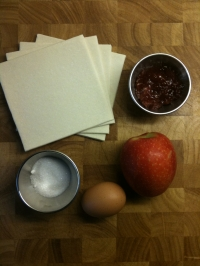 Ingredients for Puff Pastry Apple Tarts with Jam