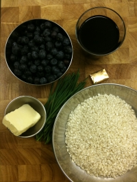 Ingredients for Blueberry Risotto with Chives