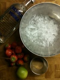 Ingredients for Strawberry Caipiroska